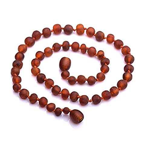 Genuine Baltic Amber Necklace - Raw not polished Beads - Cognac color - Knotted between beads - 30cm