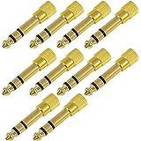 10pz MENGS® Mini 6,5mm Male Plug Stereo a 3,5mm Famale Jack Adattatore Convertitore Audio per Cuffie / Mic, Oro