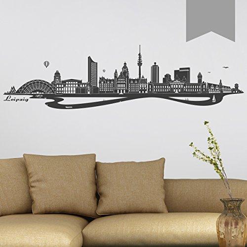 WANDKINGS Wandtattoo - Skyline Leipzig (mit Fluss) - 100 x 26 cm - Mittelgrau - Wähle aus 6 Größen & 35 Farben