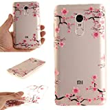 For Xiaomi Redmi Note 4 Case Cover, Ecoway TPU Clear Soft Silicone Back Colorful Hollow Floral Printed Pattern Silicone Case Protective Cover Cell Phone Case for Xiaomi Redmi Note 4 - Plum