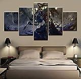 HIMFL Modular Bild Zuhause dekorativ Wandkunst Zeichnen 5 Panels Spiel Dark Souls Warrior Poster Für die Moderne Schlafzimmer Segeltuch Malerei