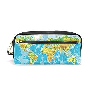 zzkko física mapa del mundo funda de piel cremallera lápiz pluma estacionaria bolso de la bolsa de cosméticos bolsa bolso de mano