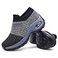 Women's Walking Shoes Sock Sneakers - Mesh Slip On Air Cushion Lady Girls Modern Jazz Dance Easy Shoes Platform Loafers Grey,11