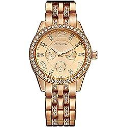 Geneva Platinum Analog Rose Gold Dial Women's Watch - Gen P-131