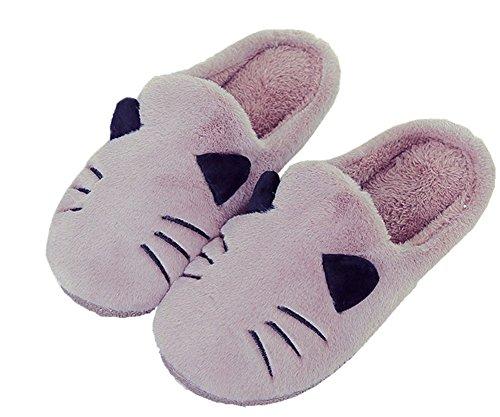 AILU Hausschuhe Damen Plüsch Winter Indoor Pantoffeln Wärme Weiche Leicht Cartoon Katze Plüsch Slippers für Herren und Damen