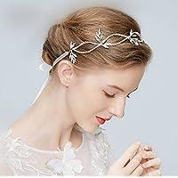 Jovono nozze d  argento fascia testa accessori da sposa con strass per  donne e ragazze e816b7197c52
