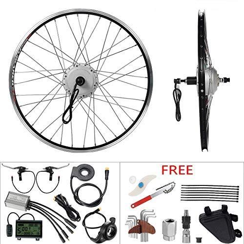 "YOSE POWER E-Bike Conversion Kit 36V350W 26\"" Elektrofahrrad Heckmotor Umbausatz Cassette Hinterrad Silber mit LCD Display"