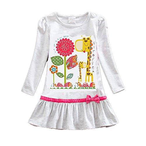 VIKITA Mädchen Bunt Print Stickerei Langarm Baumwolle Freizeit Kleid LD6661Grau 8T
