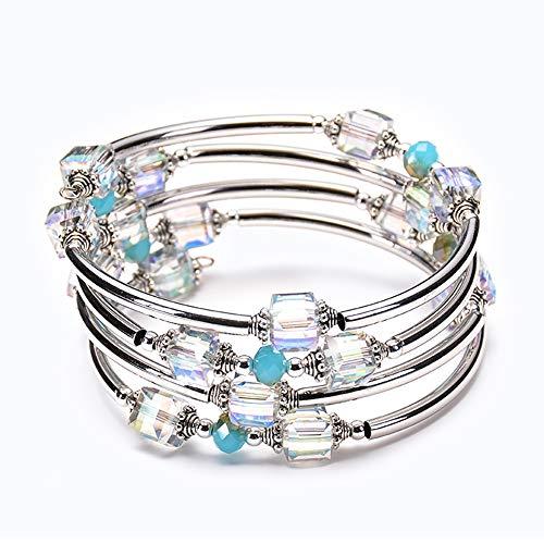 (LCM Damenarmband, Natürliches Türkise-Agate Multi-Circle-Wrap-Armband, Seven Chakra Multilayer-Armband, Strahlenschutz, Handgefertigter Armband,A)