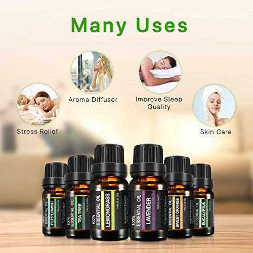 Aceites Esenciales para Humidificador | Set de 6 para Aromaterapia y Masaje Naturales | Aceite Esencial Lavanda,  Árbol de Té,  Eucalipto,  Menta,  Lemongrass,  Naranja | Puros 100% Hogar y Spa