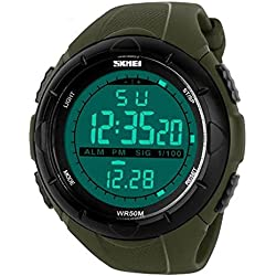 2016 New Luxury Brand Men Military Sports fashion casual Watches Digital LED Wristwatches rubber strap relogio masculine sports watch (Green)