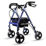 Lxn Klapprollator Walker - 4 Rad Medical Rolling Walker mit Ablagekorb - Mobilitätshilfe für Erwachsene, Senioren, Senioren & Handicap - Aluminium Transportstuhl (Blau)
