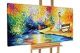 KunstLoft® Acryl Gemälde 'Wonderland' 140x70cm | original handgemalte Leinwand Bilder XXL | Park Natur Fluss Bunt | Wandbild Acrylbild moderne Kunst einteilig mit Rahmen