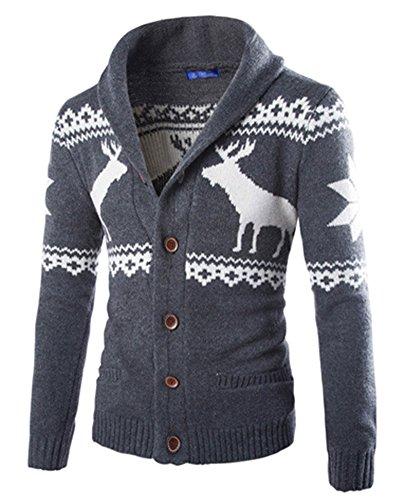Herren Pullover Cardigan Schön Aufdruck Herbst Winter Knitted Strickjacke Dunkel Grau