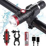 Bike Light Set - FMAIS USB Wasserdicht Fahrrad Licht mit einer 18650 mAh wiederaufladbar Akku für Radfahren Camping Outdoor Sport und täglichen Gebrauch