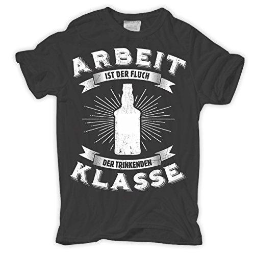 Männer und Herren T-Shirt Arbeit ist der Fluch der trinkenden Klasse Aschgrau