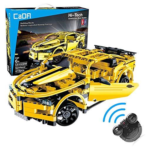 modeltronic c51008w nuevo coche radio control chevrolet camaro amarillo de bloques de construcción 419 piezas tipo technic