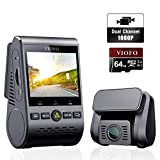 VIOFO A129 DUO Dash Cam Telecamera per Auto Doppia 140° FULL HD 1080P 2,0' LCD con GPS con Scheda SD da 64 GB Visione Notturna, Monitoraggio 24 ore, Registrazione in Loop, G-Sensor, WDR