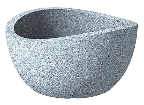 Scheurich Wave Globe Pflanzschale Weiß-Granit Ø 40 cm, Höhe 21 cm