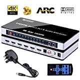 HDMI Switch, Tendak 4K HDMI Switcher 5 Port HDMI Switch Splitter 5 to 1 HDMI Switches + SPDIF + L/R Audio Extractor with IR Remoe Control and UK Power Adapter for PS3, PS4, Bluray Player, Virgin box, Game box and More