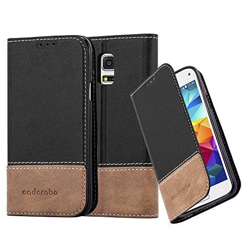 Cadorabo Hülle für Samsung Galaxy S5 Mini / S5 Mini DUOS - Hülle in SCHWARZ BRAUN – Handyhülle mit Standfunktion und Kartenfach aus Einer Kunstlederkombi - Case Cover Schutzhülle Etui Tasche Book