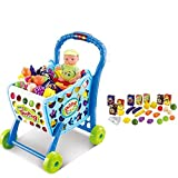 #9: GetBest 3 in 1 Hand Induction Kids Shopping Cart for Kids, Blue