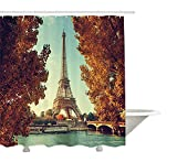 Yeuss Eiffel Tower Cortina de ducha por Seine in Paris con Torre Eiffel Otoño Horario Golden Hojas Puente Scenery, Tela Decoración de Baño Set con Ganchos, Amber Turquesa 60'x72', 72'x80'(180cmx200cm)