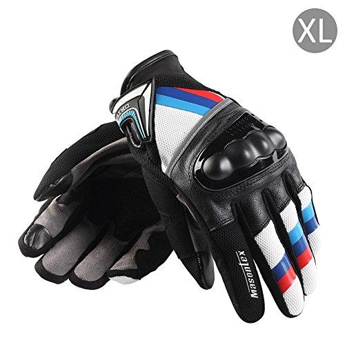 1 Paar Motorradhandschuhe Handschuhe Vollfinger Handschuhe für Motorrad Fahrrad Schutz Sommer, Mountain-Bike-Schutzhandschuhe XL Blau Rot