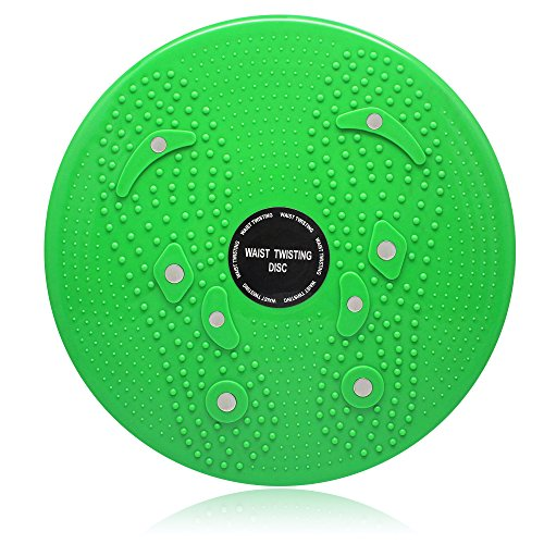 Accessotech Twist Waist, disco rotante fitness per torsioni, esercizi di aerobica, equilibrio e riflessologia, dotato di magnete, Green