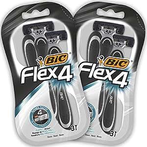 BIC Flex4 Rasoi da Uomo Monouso - Confezione da 2 Pacchi da 3
