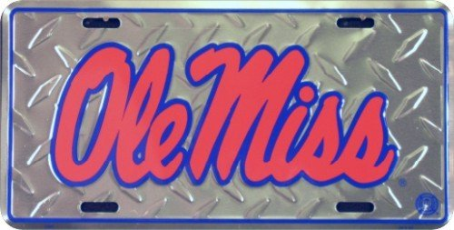 Ole Miss Diamond License Plate Tin Sign 6 x 12in by HANGTIME (Ole Miss Auto-tag)