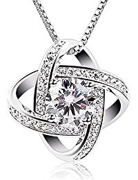 BCatcher Women Necklaces Sterling Silver Cubic Zirconia Pendant Gemini Necklace