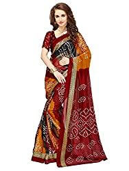 Glory Sarees Women's Bhagalpuri Art Silk Cotton bandhani saree(vnart29_red_free_size)
