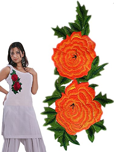 rose embroidered patch for suits and kurtis