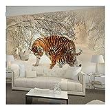 Zyzdsd Tapete Tiger Im Winter Schnee Wald Fototapete Wandbild Für Wohnzimmer Schlafzimmer Aufkleber-400X280CM
