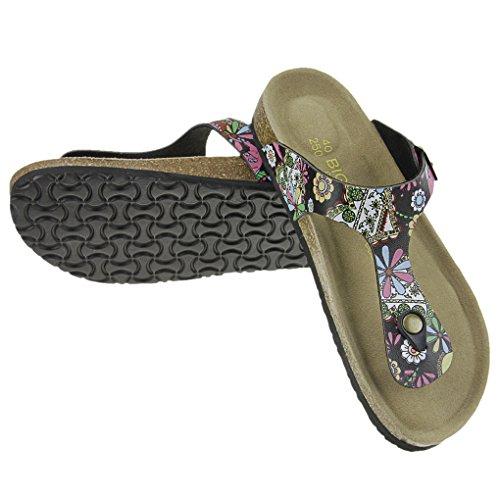 Nouveau Unisexe Tongs Plat en PU Pantoufles d'été Mode Sandales Hommes Femmes Chaussons Confortable Chaussure de Bain Plage Piscine Bois Souple Flip Flop Ouvert Antidérapante Noir