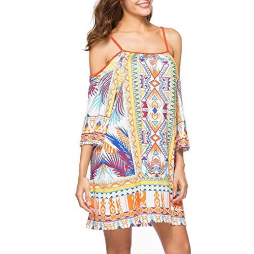 Plissiert Halfter Chiffon-kleid (Xinxinyu Damen Kleid, Lässig { Schlinge Sommerkleid } { Nationaler Wind druck Sundress} Lady { Sexy Halfter Kleid } (Gelb, XL))
