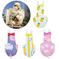 ‏‪QBLEEV 4 Pack Bird Diaper, Soft Birds Flight Suits with Leash Hole, Washable & Reusable Parrots Nappies with Bowtie Decor, Breathable Pet Pee Pads for Budgie Parakeet, Cockatoos(4 Sizes)‬‏