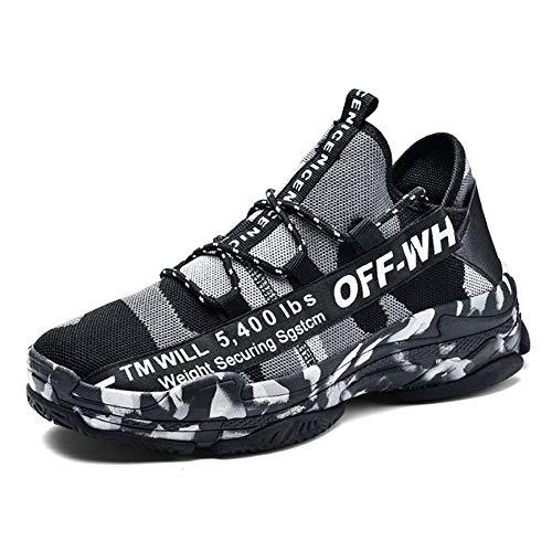ASDFGH Basketball-Schuhe, Camouflage Casual Sportschuhe Stoßdämpfung Atmungsaktiv Rutschfeste Fliegen Gewebte Mesh Sportschuhe Herren Outdoor Laufschuhe,Black,39 (Basketball-schuhe Für Frauen Jordan)