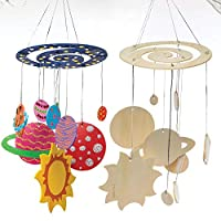 Baker Ross Make Your Own Wooden Solar System mobile (Pack of 2) For Arts & Crafts, Science Projects