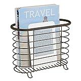 mDesign porte revue - porte magazine élégant en acier pour la salle de bain - porte journal aussi utilisable pour des livres, tablettes etc. - couleur : bronze