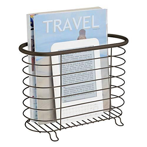 Mdesign portariviste da terra - portagiornali in metallo bello e pratico - portariviste da bagno perfetto anche per libri o tablet - bianco opaco