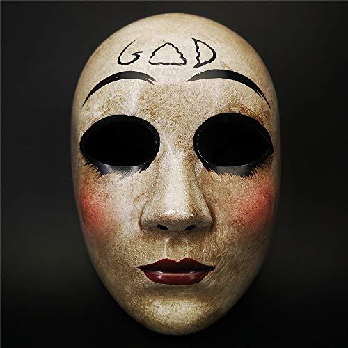 Erwachsene Mantel Für Roten Britischen Kostüm - Kreuz Maske & Gott Maske, Halloween-Kostüm Party Maske, Horror Purge maskthe Anarchie Purge Film, Anzug für Unisex-Kinder