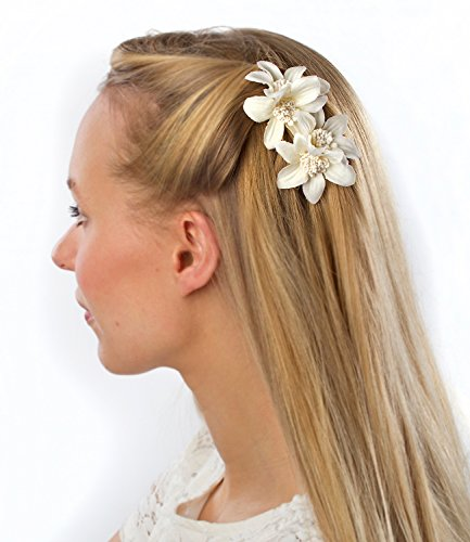 SIX Brautschmuck, 2 weiße Blumen Haarspangen, große Lilien Blüten (488-028)