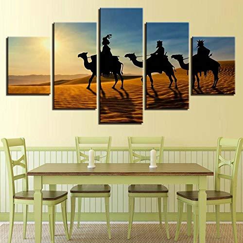 adgkitb canvas Stilvolle Home Wandkunst Dekor Rahmen Abstrakte Leinwand Bilder Hd 5 Panel Indische Dekorative Malerei Home Wohnzimmer Wandbild -