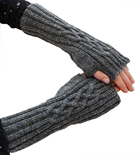 Armstulpen Zopfmuster handgestrickt grau für Kinder von Cherry & Magnolia