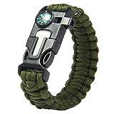 #6: Futaba Survival Bracelet Flint Fire Starter Gear With Compass - Army Gear