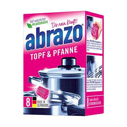 abrazo Topf & Pfanne Reinigungskissen Reinigungs-Schwamm Topfreiniger Grillreiniger & Backofen-Reiniger Stahlwolle 8 St