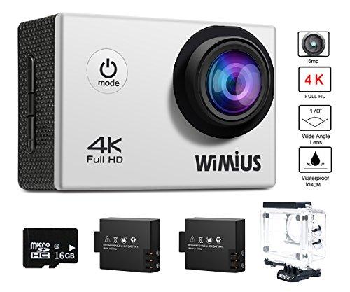 WiMiUS Action Cam 4k Wifi Sport Kamera Action Actioncam 1080P 16MP Wasserdicht Helmkamera mit 16GB Karte, 2 Akkus, 1 Tasche, 1 Externes Ladegerät
