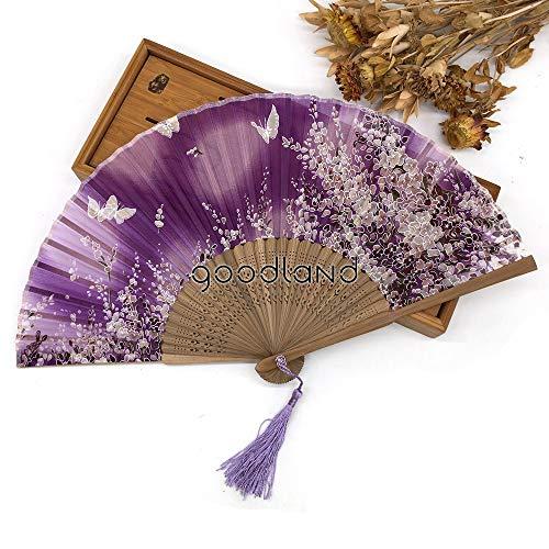 r,Blume Schmetterling Muster Lila 100% Seide Hand Fan Halloween Dekoration Party Damen Geschenk Faltfächer Wanddekoration Tanzfächer ()